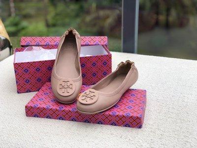 正品TORY BURCH湯麗柏琦MINNIE羊皮雙T LOGO平底芭蕾舞鞋女鞋