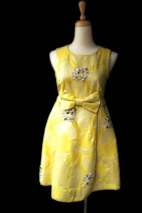 *Beauty*MARC JACOBS黃色金蔥水鑽背心洋裝WE16