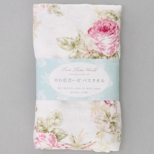 ~~凡爾賽生活精品~~全新日本進口紅色玫瑰花造型純綿紗布浴巾~日本製