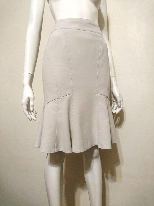 MATERIA日本製 貴婦品牌 淺灰色立體裙擺魚尾裙 及膝 38號 高價專櫃