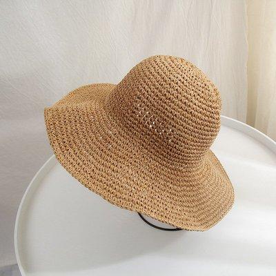 草帽漁夫帽-大帽簷可摺疊純色休閒女帽子3色73vq7[獨家進口][米蘭精品]