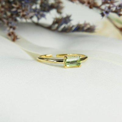 925純銀 貼身守護情人 淺綠色、粉紫色碧璽長方形切割開口細戒指 兩色可選 可疊戴 氣質簡約