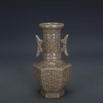 ㊣姥姥的寶藏㊣ 宋代哥窯金絲鐵線支釘雙耳六方尊  出土文物古瓷器 古玩古董收藏
