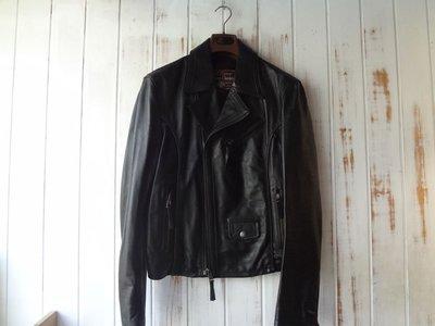Marlboro Classics MCS近新品原廠頂級羅馬尼亞製黑色仿舊馬皮PERFECTO騎士款皮衣M號(0516)