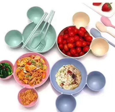Z-044 卡通米奇碗餐盤分格盤子嬰兒餐具兒童飯碗(碗+叉子筷子湯匙)
