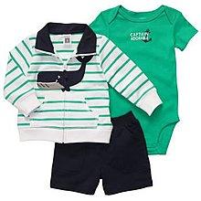 【安琪拉 美國童裝/生活小舖】Carter's綠色鯨魚3件式套裝- 長袖外套+短褲+包屁衣
