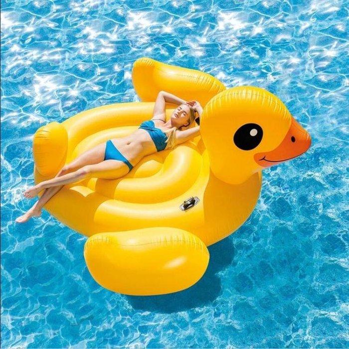 火烈鳥游泳圈 成人加厚充氣水上坐騎上浮床浮排氣墊  DF