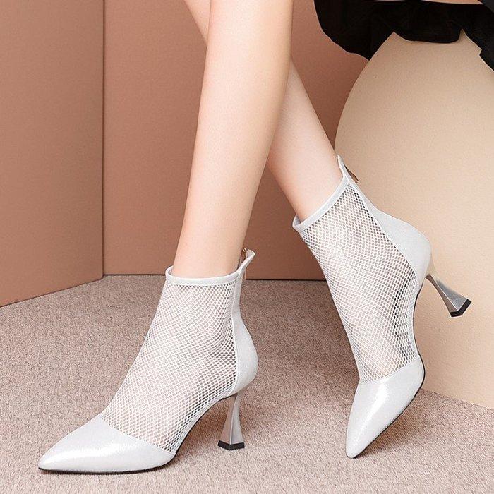 真皮 歐美真皮尖頭高跟鞋女2020春夏新款透氣網紗鏤空包頭涼靴中跟短靴 HKA 049