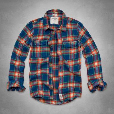 愛麗絲小舖~Abercrombie & Fitch Railroad Notch Flannel Shi法蘭絨格子襯衫~