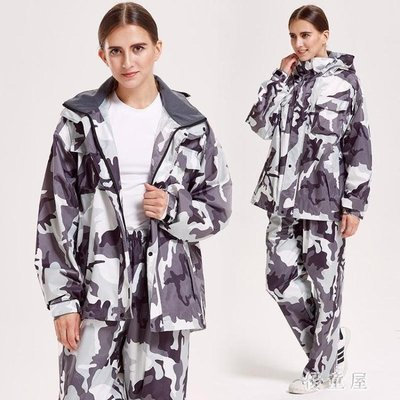 哆啦本鋪 雨衣 雨衣雨褲套裝大人分體騎行防水雙帽雨衣男女款戶外 4994 D655