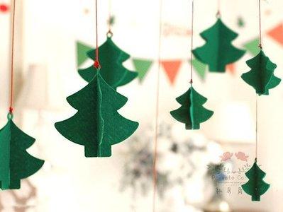 ◎私房角落【EFC0025】不織布立體淘氣聖誕樹掛飾(7入)交換禮物派對party彩旗耶誕佈置婚禮小物嬰兒床兒童裝飾雜貨
