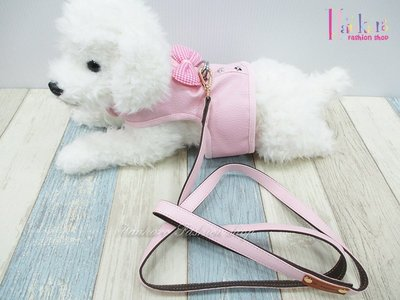 ☆[Hankaro]☆ 寵愛毛小孩粉色花朵皮料背心胸背牽繩組(共三種尺寸)
