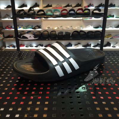 {潮鞋瘋} ADIDAS DURAMO K SLIDE 拖鞋  一體成型 黑色/ 白條紋 女段 G06799 台中市