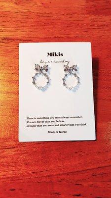 Mikis推薦 3月正韓【優惠!蝴蝶結優雅珍珠銀針耳環】一色