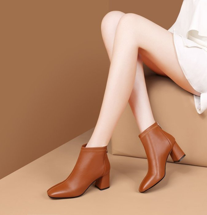 『Alice❤愛麗絲』秋冬新款方頭粗跟短筒女靴歐美頭層牛皮後拉鍊高跟切爾西短靴