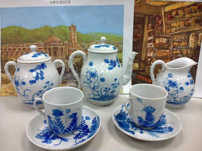 大世紀古董店  日本 明治時期   手繪青花壺組
