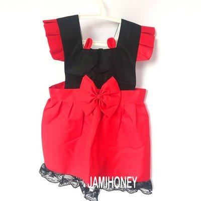黑紅小耳朵蕾絲公主 兒童圍裙【JI2388】《Jami Honey》