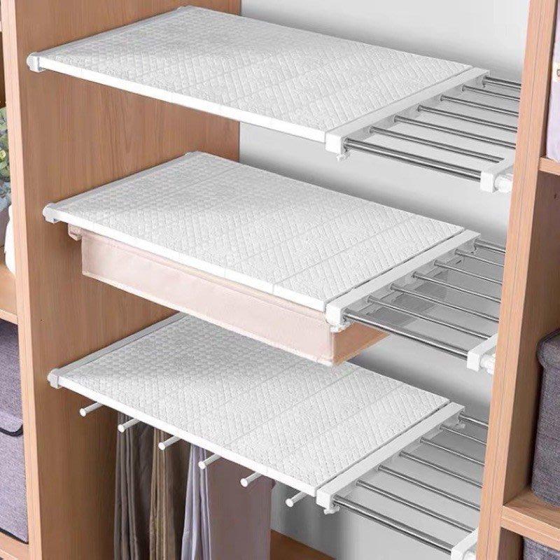 衣櫃免打孔伸縮分層隔板收納架學生宿舍隔離板置物架(@777-7229)