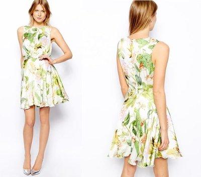 (嫻嫻屋) 英國ASOS 氣質名媛Skater Dress in Floral飄逸洋裝 約會 現貨UK8