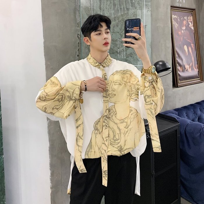 型男風 實拍 2019夏秋款人物印花飄帶裝飾寬鬆男士長袖襯衫 現貨 免運費