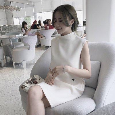 ❤Princess x Shop❤韓版純色半高領蜜蜂刺繡無袖氣質連衣裙正韓國連線洋裝一字領【DX406】