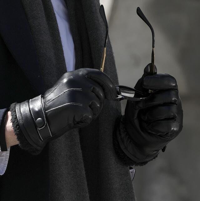 保暖手套 觸屏男士手季皮手套男加絨加厚保暖防風防水騎摩托車騎行手套