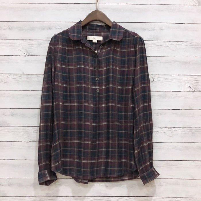 Maple麋鹿小舖 美國品牌LOFT * 深色格紋襯衫式上衣 * ( 現貨SP號 )