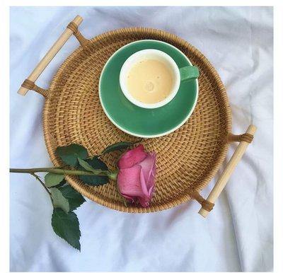 野餐趣~~手工藤編茶點盤 水果 麵包蛋糕盤 桌上收納框(小號)