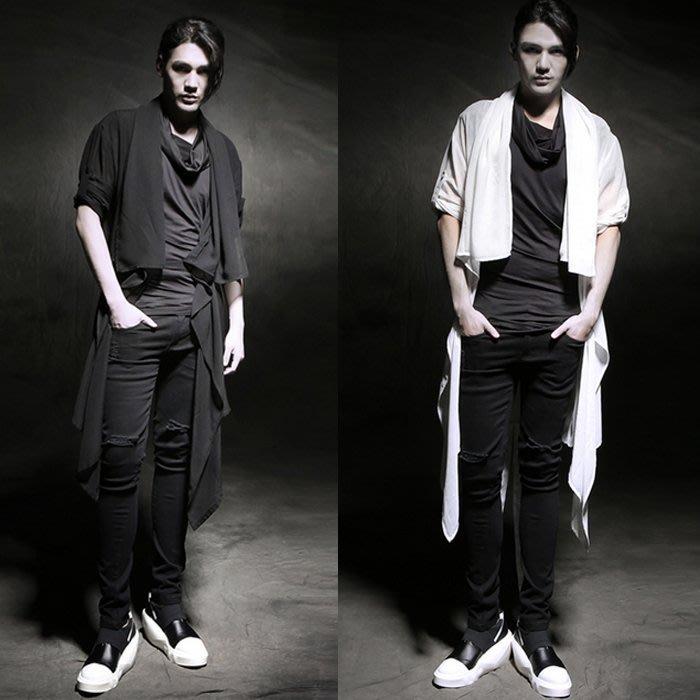 『潮范』 W06 潮男披肩襯衫 男士防曬衣髮型師時尚服裝 開衫 七分袖襯衫 素面襯衫NRB1354