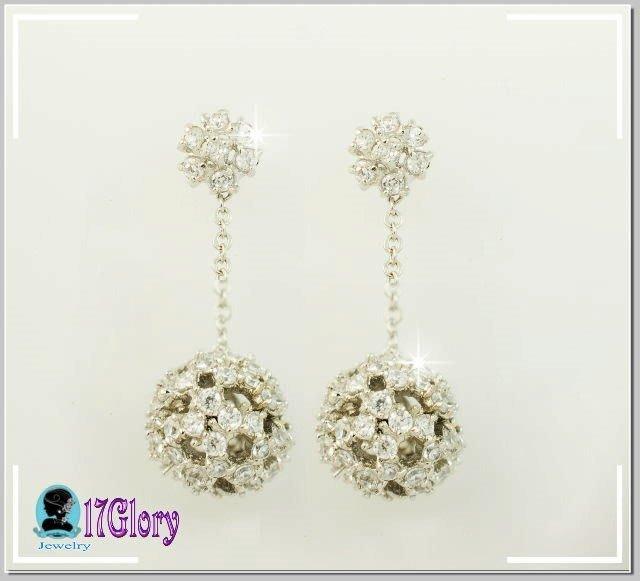 s925純銀氣質百搭長墜鑽球耳環 亮麗花朵鏤空鑽球 閃閃動人 新娘 婚宴 禮服 派對 時尚穿搭珠寶配件✽17Glory✽