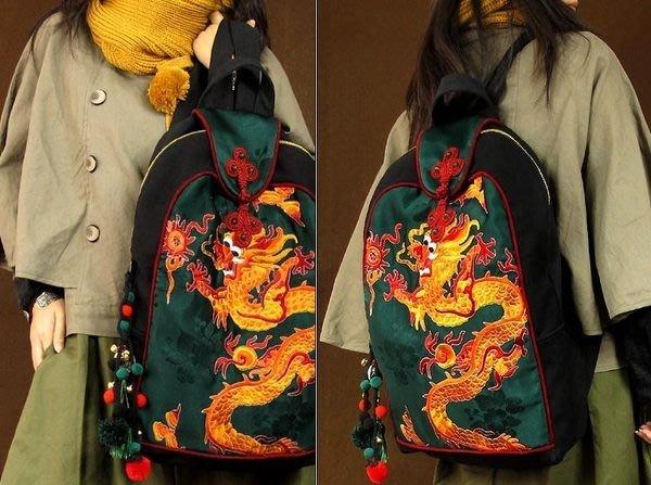 竹竹中國服飾---民族老繡風格刺繡雙肩包黑色帆布包--盛世繁華(特價品)