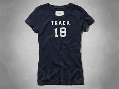 AF Abercrombie & Fitch A&F 麋鹿 海軍藍貼圖貼字短袖T恤上衣 S號 免運費 愛Coach包包