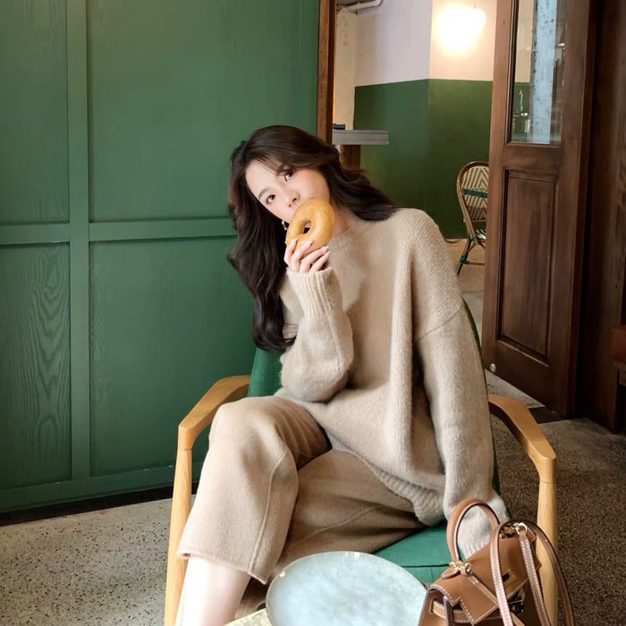 ❤JM SHOP韓風❤山羊絨羊毛圓領粗針大毛衣慵懶風針織衫