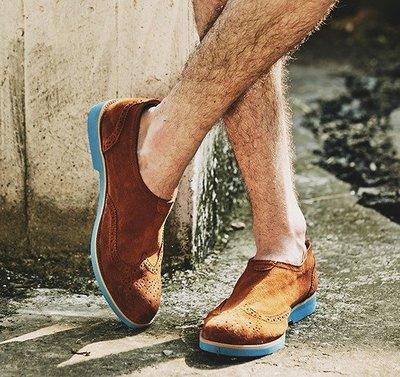 日暮瓦宅 SA33 英倫休閒真皮麂皮布洛克雕花鞋男鞋休閒鞋懶人鞋