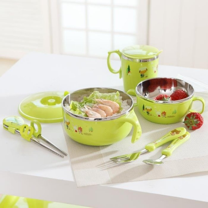 兒童餐具禮盒裝寶寶保溫碗嬰兒輔食碗不銹鋼套裝吸盤碗筷勺吃飯碗