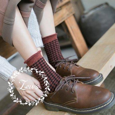 【ZEU'S】韓國復古千鳥格紋中筒襪『 02119419 』【現+預】B