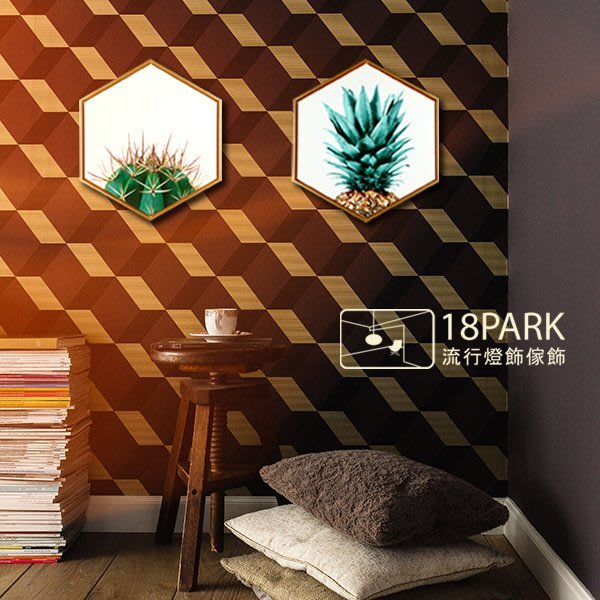 【18Park 】精緻細膩  Pineapple [ 畫說-熱門鳳梨-六角50*43.3cm ]