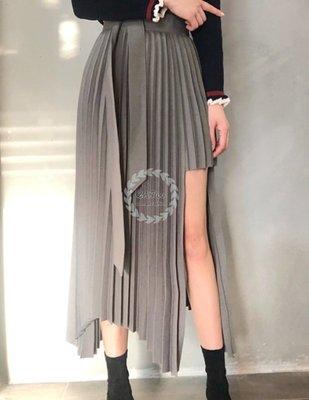 【2A Two】韓製 超質感百褶裙?高腰綁帶⌒不規則百褶裙『BB0057』