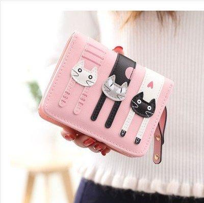 小樹的店  短款錢包 卡通可愛三隻貓咪 零錢包拉鍊搭扣多卡位迷你 錢包 皮夾 短夾 錢夾 鑰匙手 拿包 kl77