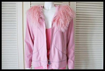 德國名品【MONDI】粉紅超長皮草連帽外套