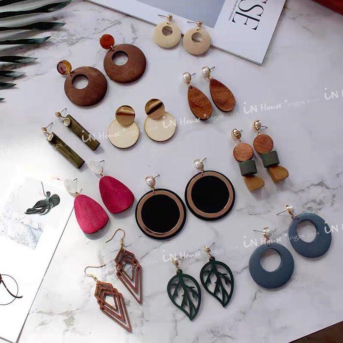 IN House*🇹🇼現貨earring 峇厘島 渡假 自然風 樹葉 木質 耳環 網紅 復古 幾何 穿洞式 耳釘
