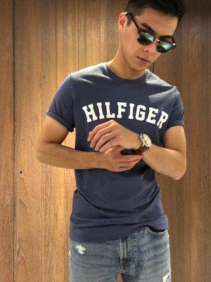 美國百分百【Tommy Hilfiger】T恤 TH 男 圓領 T-shirt 短袖 短T logo 藍灰 I910
