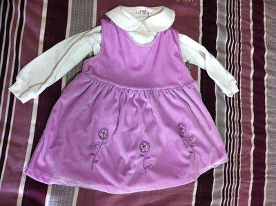 [Family生活館]絲絨紫色背心洋裝.長褲.上衣 外套四件組