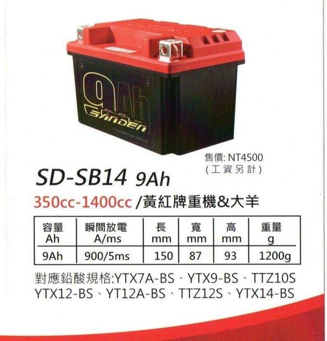 駿馬車業 紅色閃電 啟動鋰鐵世代 SD-SB14 9AH 對應鉛酸規格輕看內文跟圖片