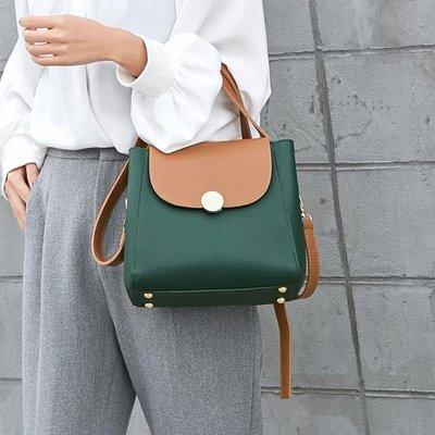 包包女新款撞色水桶包簡約手提包韓版時尚百搭個性單肩斜挎包 IV2356