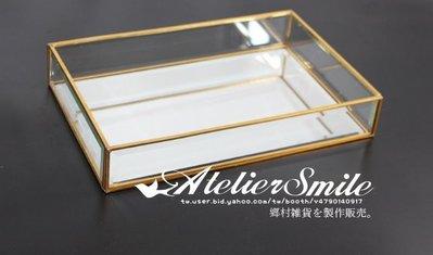 [ Atelier Smile ] 鄉村雜貨 復古歐式 手工銅製鏡面 玻璃展示首飾盒 收納盒 #40 無蓋 ( 特價 )