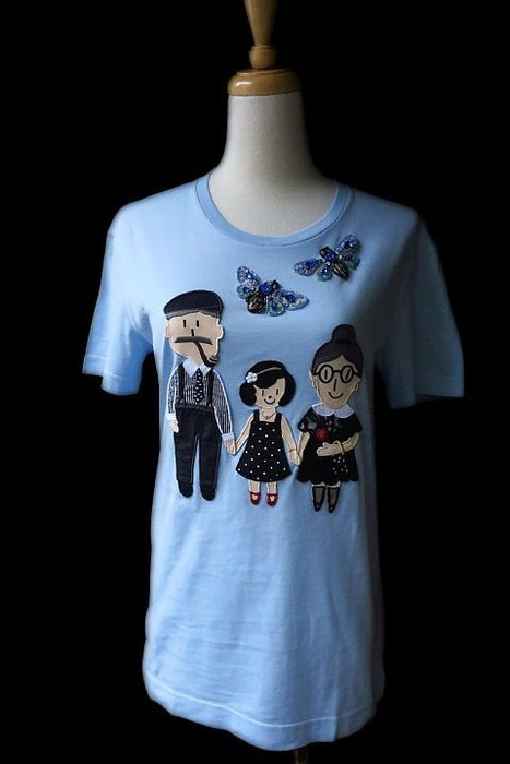 *Beauty*D&G水藍色父母女圖案短袖棉T恤 36  號 9000    元WE18
