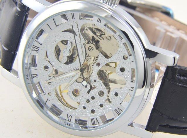 (六四三精品)3.9鏤空(真品)手上鏈(復古型)機械錶.正反面鏤空.銀色!