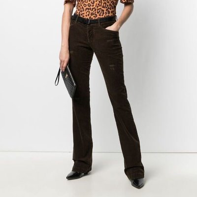 Dsquared2 distressed flared corduroy trousers 女仿舊燈芯絨喇叭褲 限時超低折扣代購中