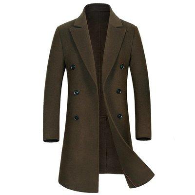 毛呢大衣 長版風衣-純色優雅雙排扣羊毛男外套4色73wk27[獨家進口][米蘭精品]